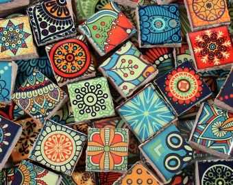 Ceramic Mosaic Tiles - Bright Colors Medallions Moroccan Tile Mosaic Blue Green Yellow Red - 90 Pieces /Mosaic Art / Mixed Media Art/Jewelry