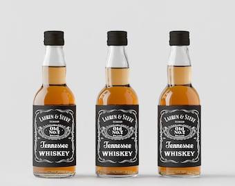 Personalised Wedding Favour Bottles - Jack Daniels Inspired, Whiskey Bottles