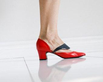 60's- 70's Colour Blocked Red & Blue Shoes -Sz 6
