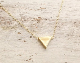 Triangle necklace, Gold necklace triangle, gold filled necklace, triangle, everyday necklace B2570