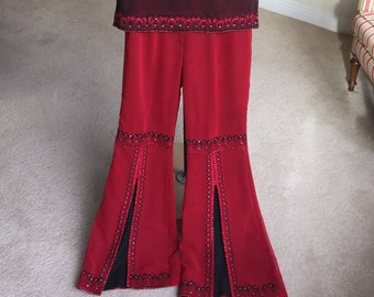 Vintage Red Black Tunic Top Bell Bottoms Set Kaftan 1970
