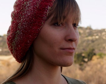 Handspun, Handknit Wool Hat. Christmas Red/Green/White Sparklie Beanie. Holiday.