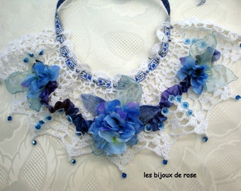 floral necklace, bib Necklace blue flowers hand made crochet