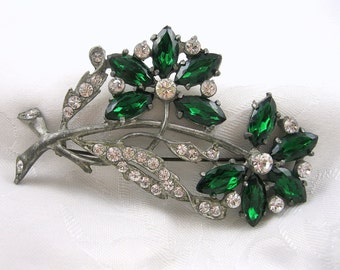Vintage Flower Brooch Pot Metal Rhinestone Emerald Crystal Restored