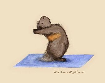 Yoguineas - Standing Back Bend - Cute Guinea Pig Yoga Art Print
