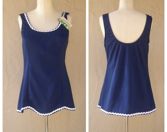 70s swimsuit 38 BUST, tankini TOP ONLY / navy blue nautical bathing suit, modesty style / new old stock tags, deadstock / womens medium