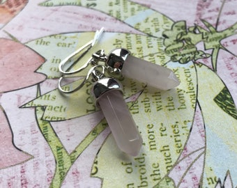 Rose quartz bullet pendant earrings