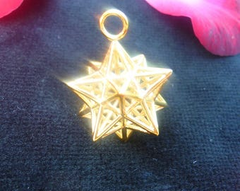 Solar Spirit Star [Made2Order] *3D Sacred Geometry Jewelry Silver*stellated Dodecahedron 12 Pentagram Pendant *Phi ratio golden mean Harmony