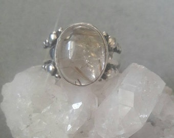 Modern Sterling Silver Oval Rutilated Quartz Statement Ring #R40SSQ