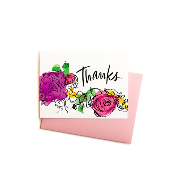 Thank you note watercolor flowers thanks greeting card m4hsunfo Choice Image