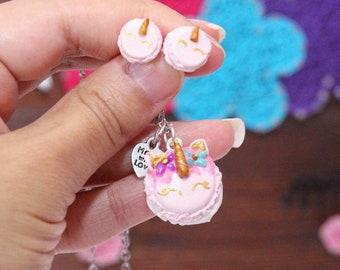 Macaroon unicorn earrings or necklace