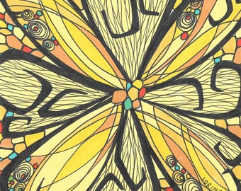 Here Comes the Sun Art Print, Wall Art, Sunflower, Stained Glass, Sunshine