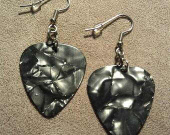 Gray/Grey Pearl Genuine Guitar Pick Earrings on Stainless Steel French Hooks