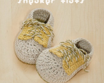 Sneaker Flats Baby Booties Preemie Socks Newborn Shoes Crochet Pattern (SF01-W-PAT)