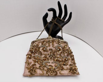 Victorian Style Gold And Silver Wire Emboidered Evening Bag