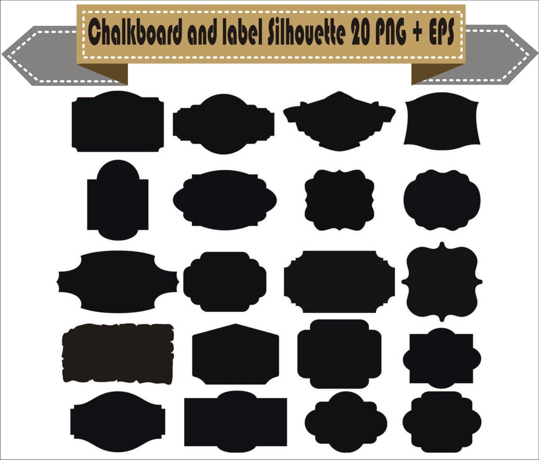 Chalkboard Frame Badges Vintage Motif Label Shapes Pack Silhouette Vector Clipart PNG EPS Digital Files Scrapbook Supplies Instant Download