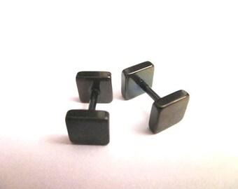 Square Fake plug black  6mm