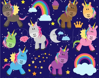 Unicorn Clipart, Unicorn Clip Art  - Commercial and Personal Use