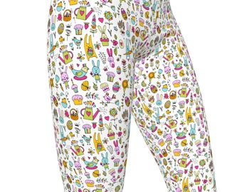 Colorful Easter Doodle, High Waist Women's Stretch Yoga Pants