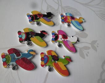 buttons x 5 mixed wood plane with multicolored pattern 2 holes 3 x 3 cm