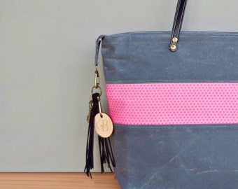 Womens Pink and Grey Waxed Canvas Tote, Personalized Monogrammed Tote with Polka Dot Accent, Zipper Tote with Custom Engraved Initial Tassel