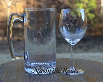 Beauty and the Beast etched wine glass and beer mug set, Husband and Wife glasses, Wedding Gift, Disney Glasses Beauty and the Beast Wedding