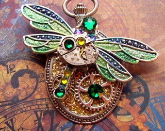 Steampunk Pin (P728) Dragonfly Brooch, Hand Painted Sparkle Acrylic, Gears and Swarovski Crystals