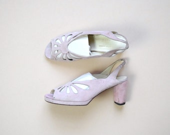 1970s pink suede leather peep toe slingback pumps | size US 7 EU 37.5 | Ritz made in Italy | cut out pink pumps