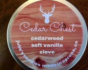 CEDAR CHEST candle with notes of cedar, vanilla and clove. Soy wax, essential and fragrance oils, 6 oz travel tin, hand-poured, clean burn.