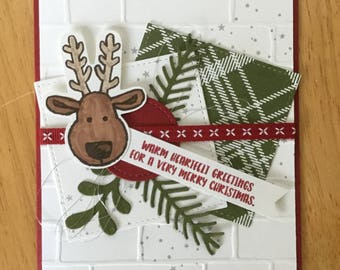 Stampin Up handmade Christmas card - Reindeer with pretty pines