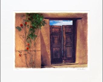 Tesuque Türen, 20 x 24 Original, signiert und verfilzt Fine Art Print