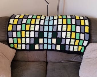 Granny Square Green and Yellow Afghan