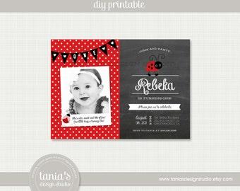 Lady Bug Printable Birthday Invitation by tania's design studio