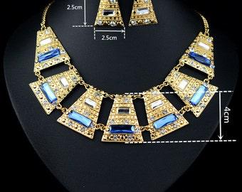 18k Gold Plated Swarovski Crystal Party Necklace & Earring Set SZ0058