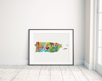Puerto Rico Love - Colorful Watercolor Style Wall Art & Home Country Map Artwork - Travel, Moving, Engagement, Wedding, Honeymoon Gift