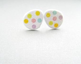 Easter Egg Stud Earrings spotted egg, easter basket stuffer, gifts under 10