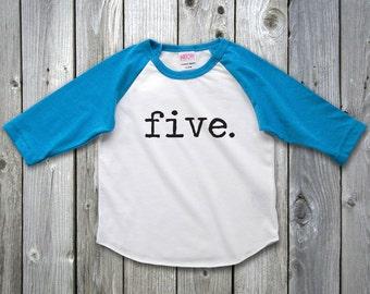 5th Birthday Shirt Raglan Shirt Fifth Birthday Outfit 5 Year Old shirt, 5 Year old birthday