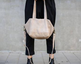 Beige Leather Tote Purse , Zipper Leather Purse, Beige Leather Shoulder Bag, Leather Crossbody Bag, Leather Tote Purse