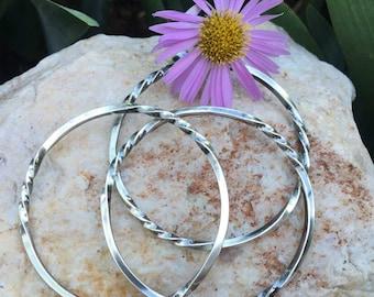 TWISTED Stacker Bangle Sterling Silver Bangle Bracelet, rustic, artisan, metalwork, handmade, Boho, Bohemian, Gypsy
