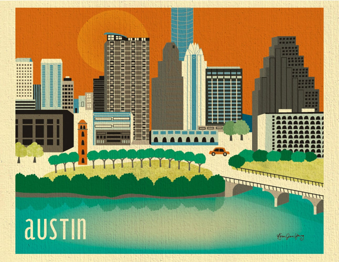 This is a picture of Gutsy Printable Map of Austin