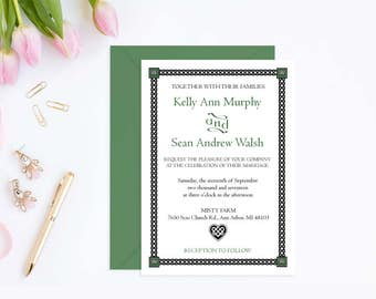 Irish Wedding Invitation Template, Printable Instant Download Wedding Invitations with Celtic Heart Design, PDF Template #WCT-06