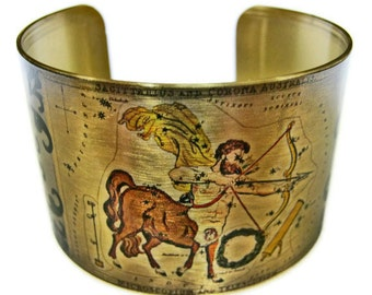 Sagittarius Astrology cuff bracelet Zodiac Hoscope brass Gifts for her