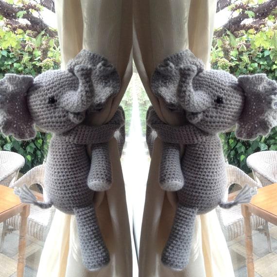A Pair Of Elephant Nursery Curtains Tie Backs Nursery