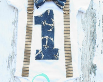 Nautical Theme Bow tie and Suspenders set, Boy Cake Smash, Boy first year outfit,  Boy number 1, Boy first birthday, Boy Second,Boy Sailing