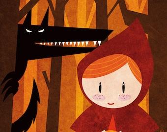 Tales - Little Red Riding Hood print children kids illustration room decoration