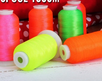 Neon Thread Set -  6 Spools of Polyester Machine Embroidery Thread - 1000M, 40WT
