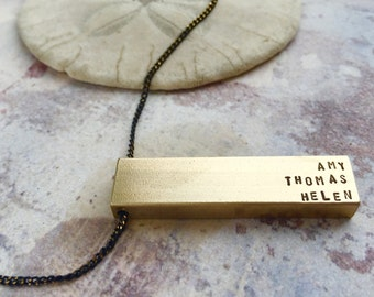 Personalized Name necklace, Father's Day gift, kids name necklace, gift for dad, gift for grandpa, Personalized bar necklace, grandmom gift