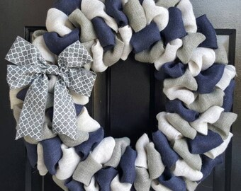 Front Door Wreath, Everyday Wreath, Summer Burlap Wreath, Navy Blue, White, & Gray Burlap Wreath with Gray Quatrefoil Bow