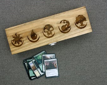 Magic the Gathering Card Box - MTG Card Storage - Wooden Deck Box - Mana Symbols Laser Cut Box - Card Game Accessories - Card Organisation