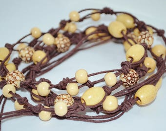 Belt Hemp & Wood Beads, Long Hemp Belt with Beads, Hippie Hemp Belt, Boho Brown Knotted Hemp Belt
